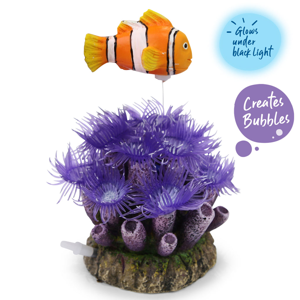 Bubbling Soft Coral With Clownfish - Small - Kazoo Pet Co