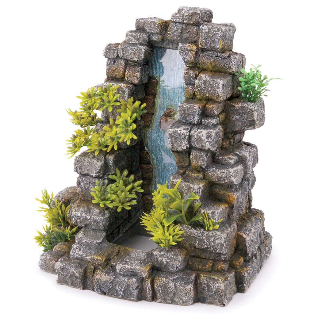 Greystone Waterfall With Plants - Large - Kazoo Pet Co