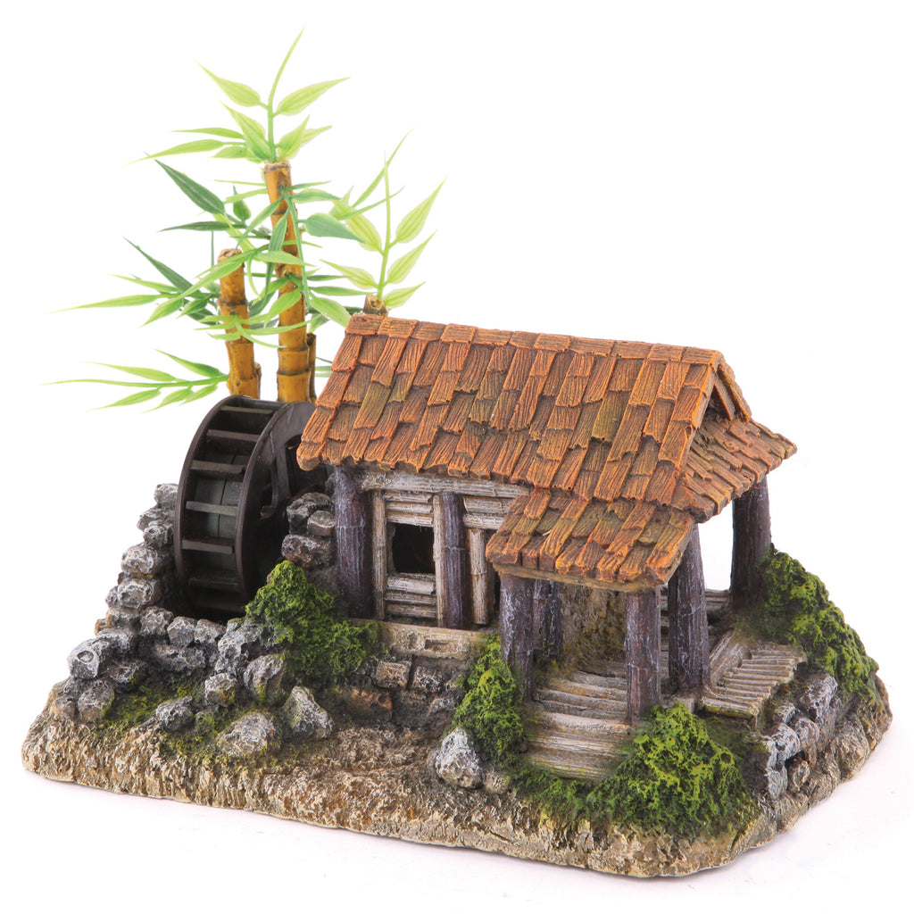 Millhouse With Waterwheel & Plants - Medium - Kazoo Pet Co