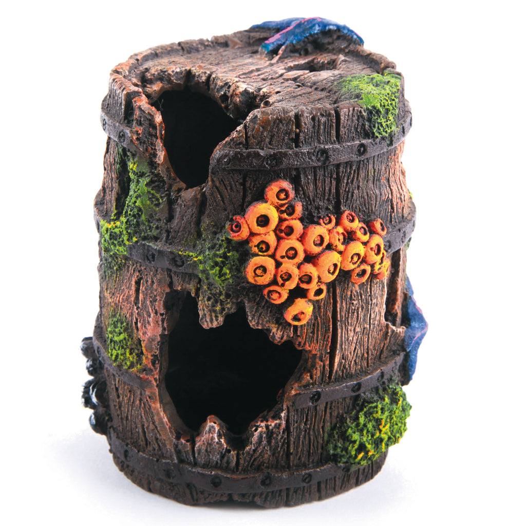 Wooden Barrel with Overgrown Coral - Medium - Kazoo Pet Co