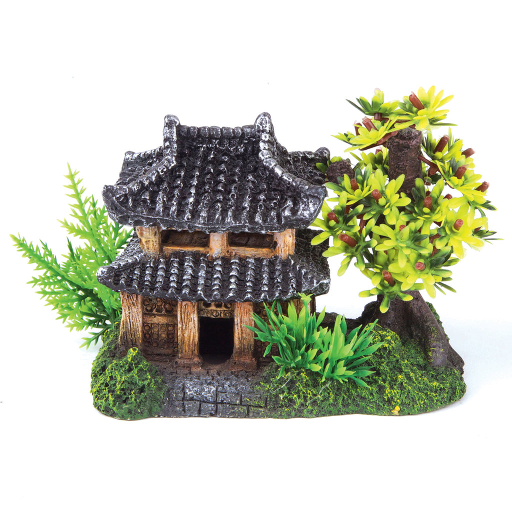 Jungle Hut With Plants - Medium - Kazoo Pet Co
