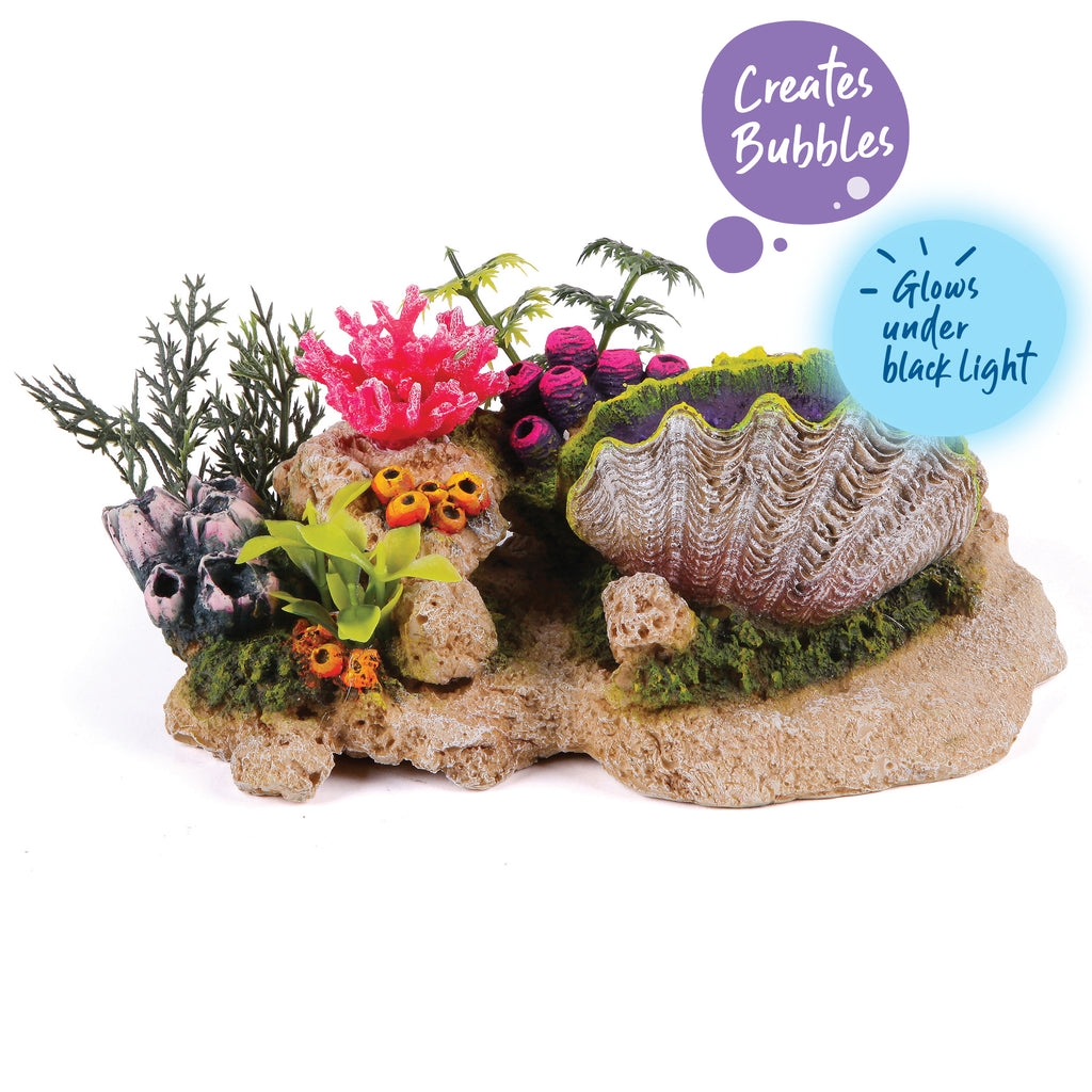 Bubbling Clam With Coral Plants - Medium - Kazoo Pet Co