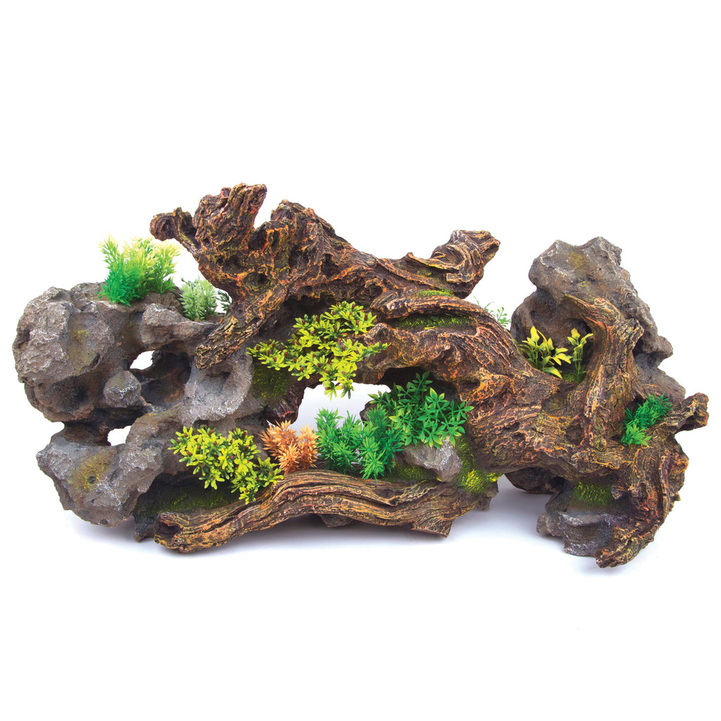Driftwood With Rock & Plants - Centrepiece - Kazoo Pet Co