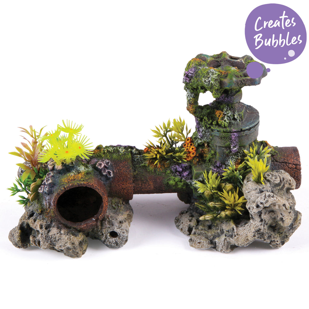 Bubbling Pipe With Coral Plants - Large - Kazoo Pet Co