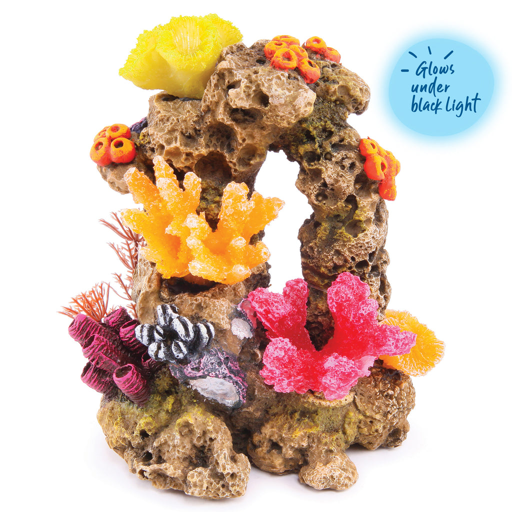 Reef Rock With Coral & Plants - Medium - Kazoo Pet Co