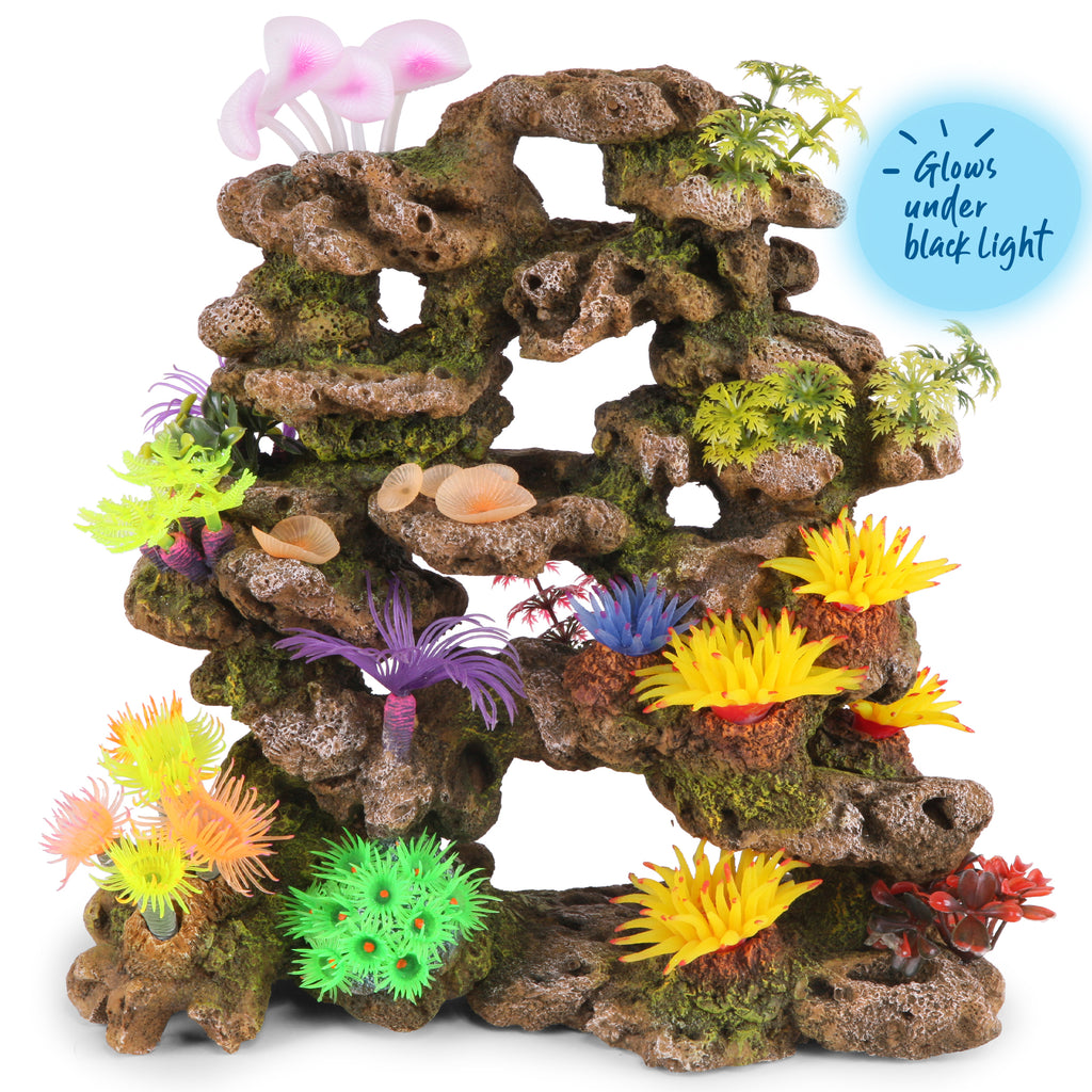 Coral Stone Formation With Plants - Giant - Kazoo Pet Co