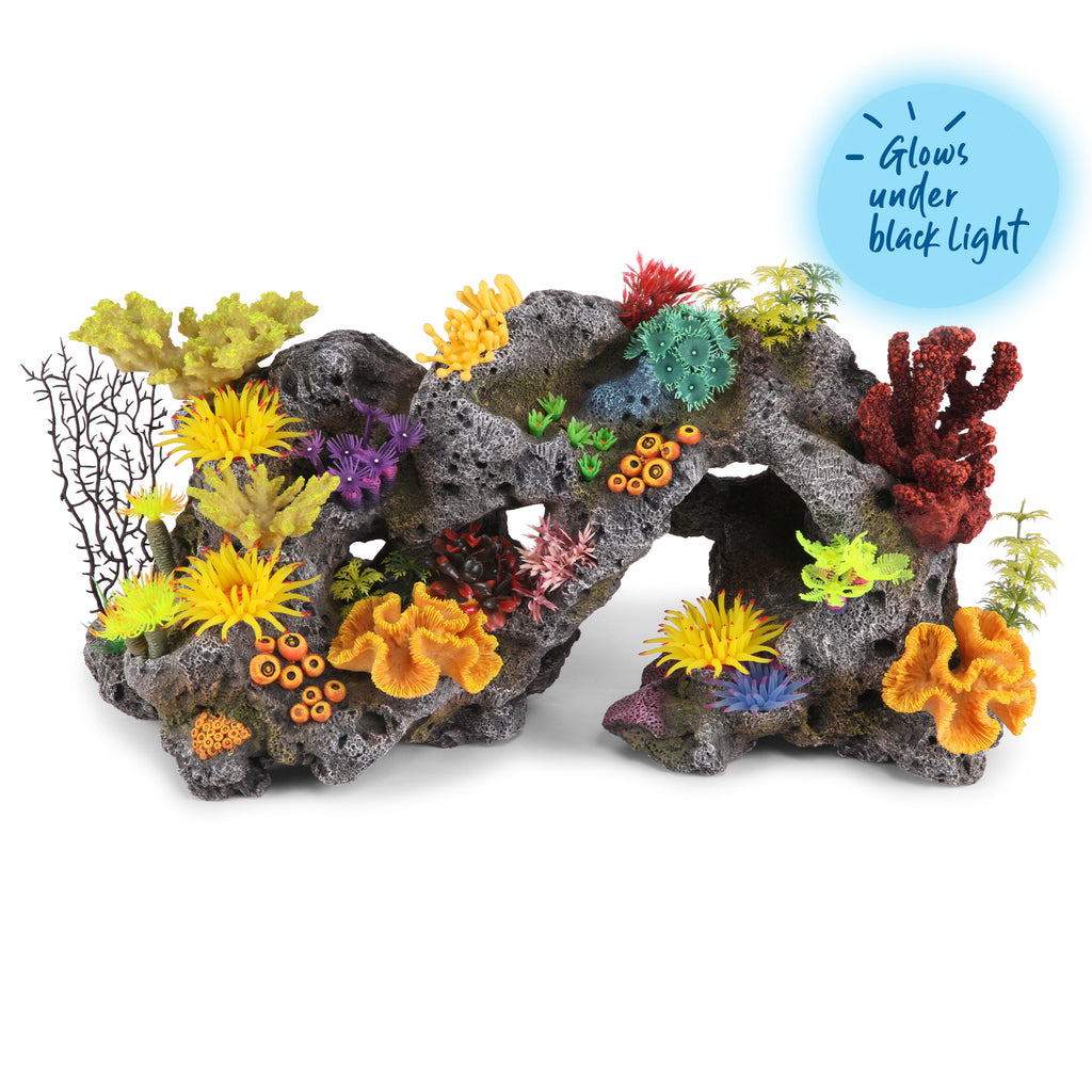 Coral Stone Formation With Plants - Centre Piece - Kazoo Pet Co