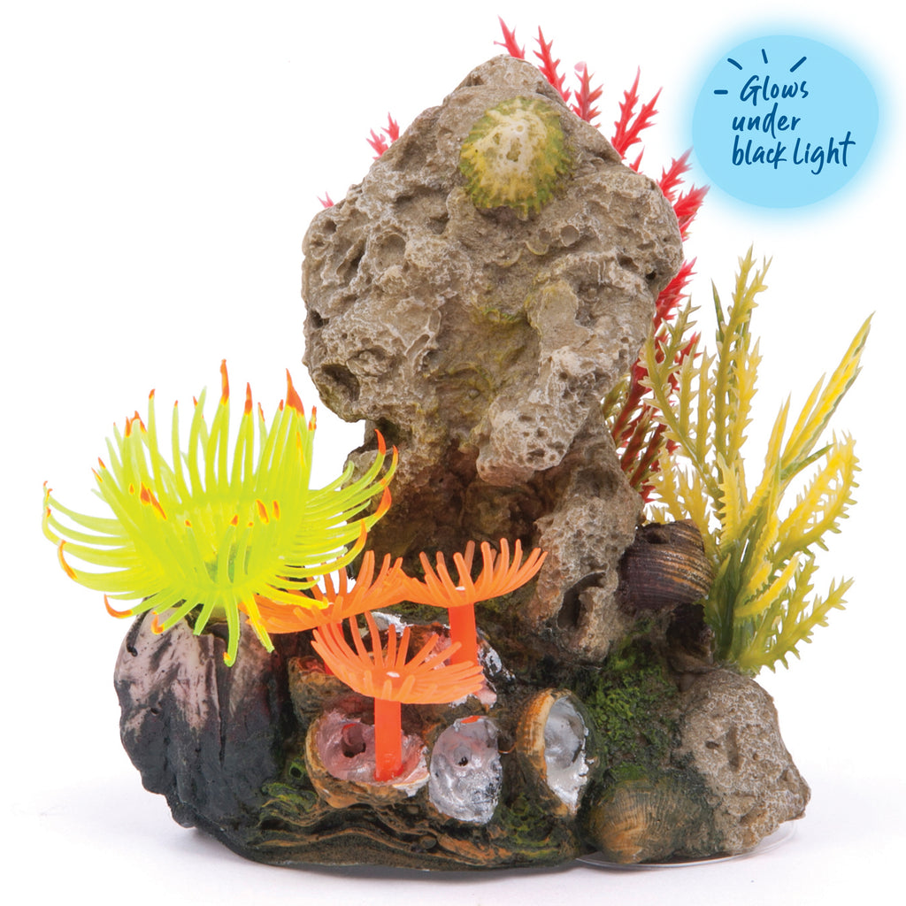 Soft Coral Stone With Plants - Small - Kazoo Pet Co