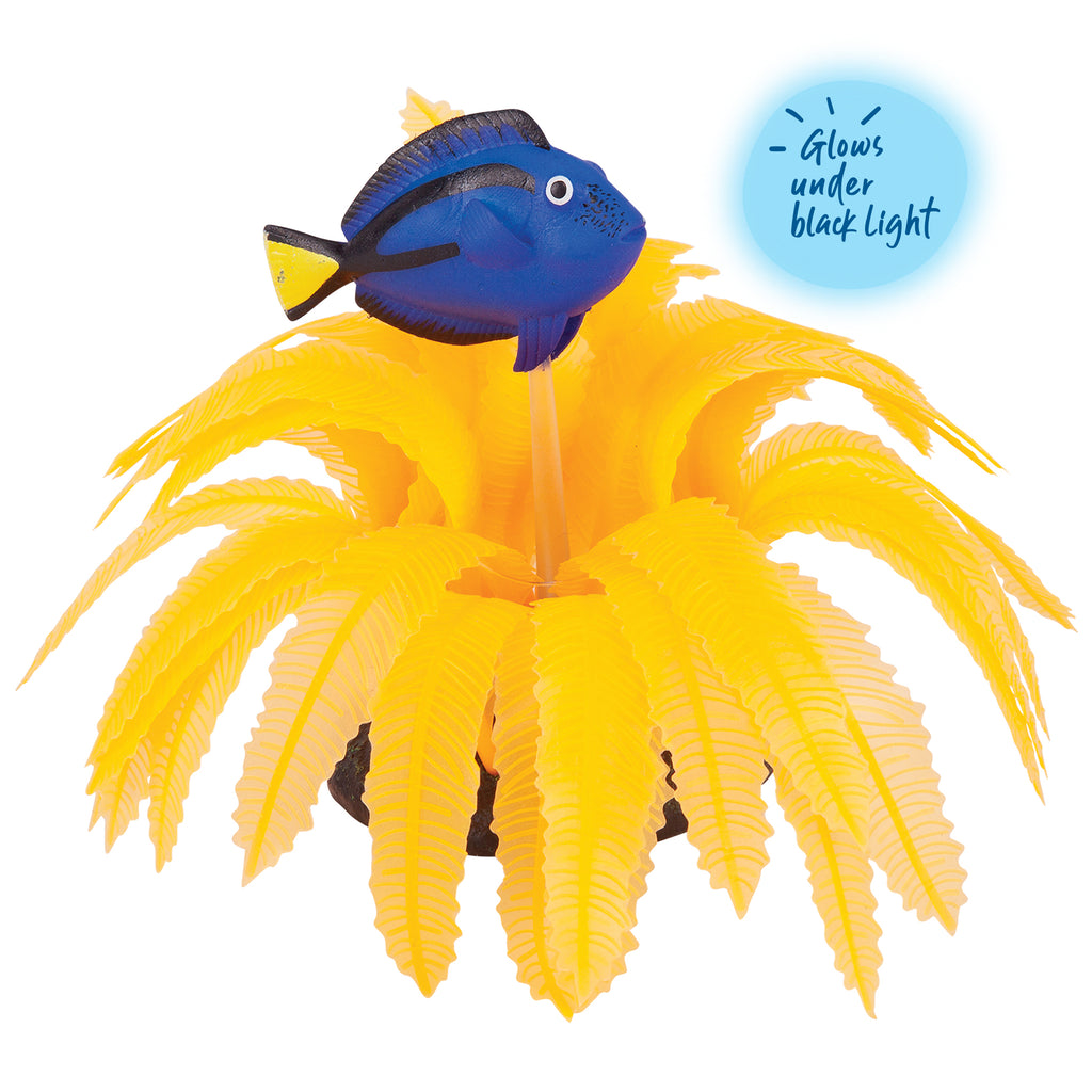Silicone Orange Fern With Blue Tang - Medium - Kazoo Pet Co
