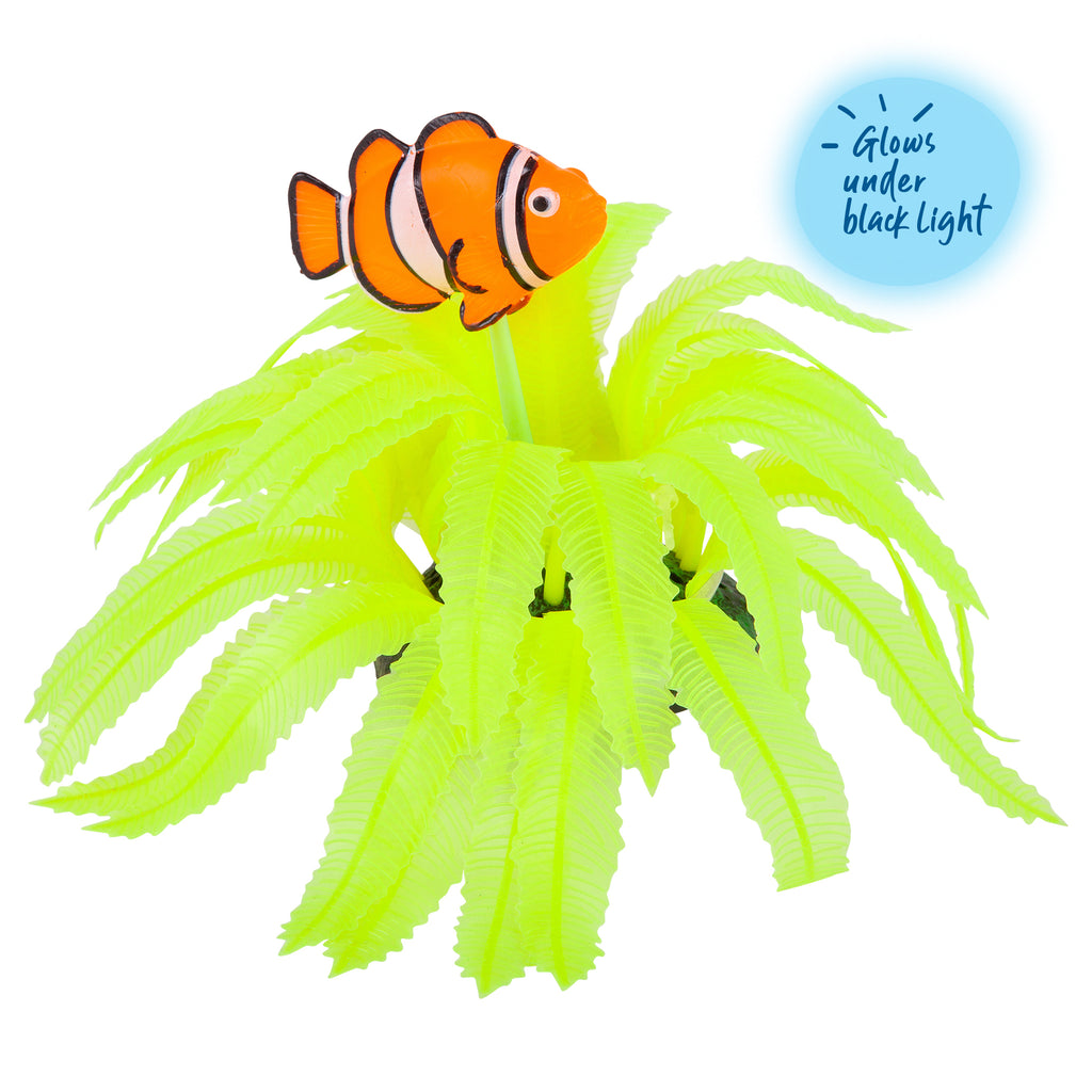 Silicone Yellow Fern With Clown Fish - Small - Kazoo Pet Co