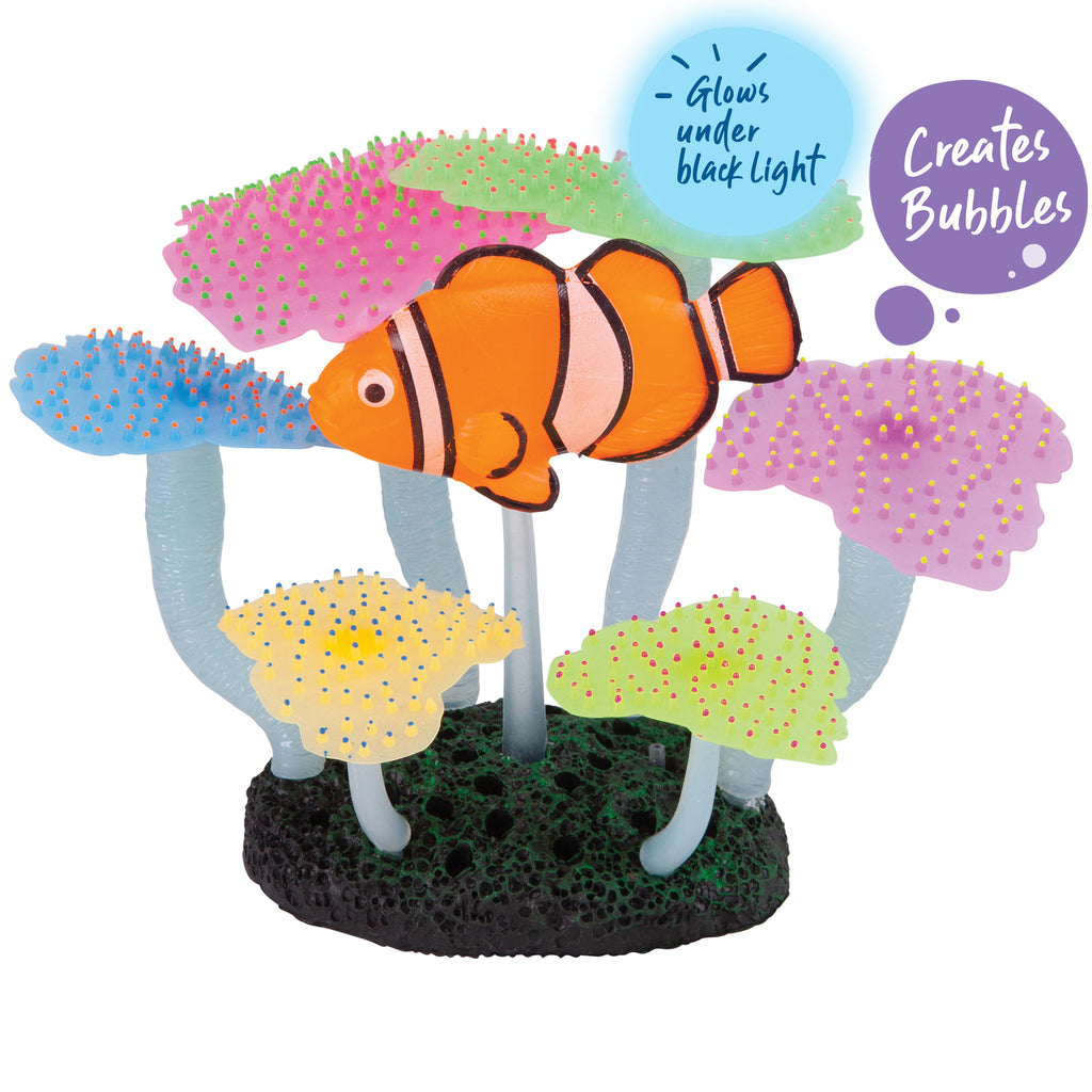 Bubbling Silicone Flat Coral With Clown Fish - Medium - Kazoo Pet Co