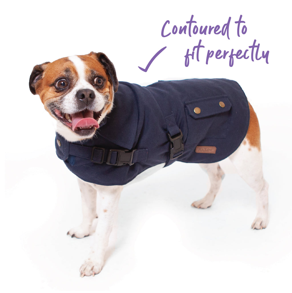 Aussie Oilskin Coat - Navy - Kazoo Pet Co