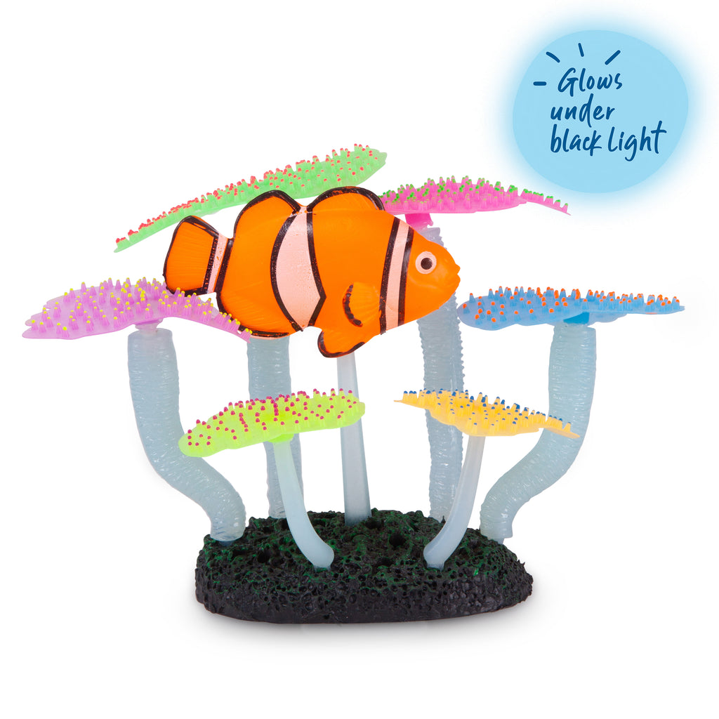 Silicone Fluro Anemone With Clown Fish