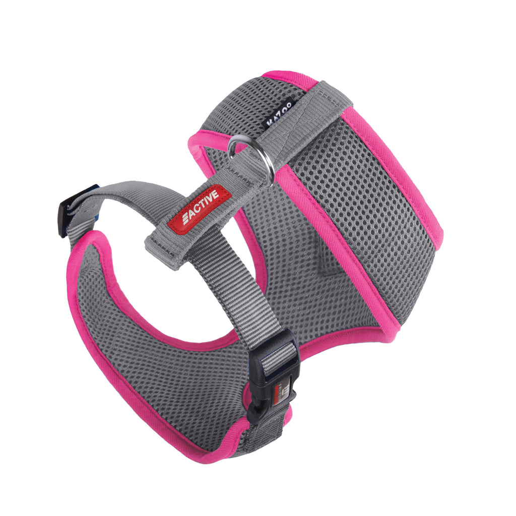 Active Soft Walking Harness - Silver & Pink - Kazoo Pet Co