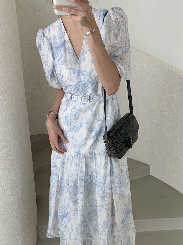 Evelyn Floral Wrap Around  Long Dress