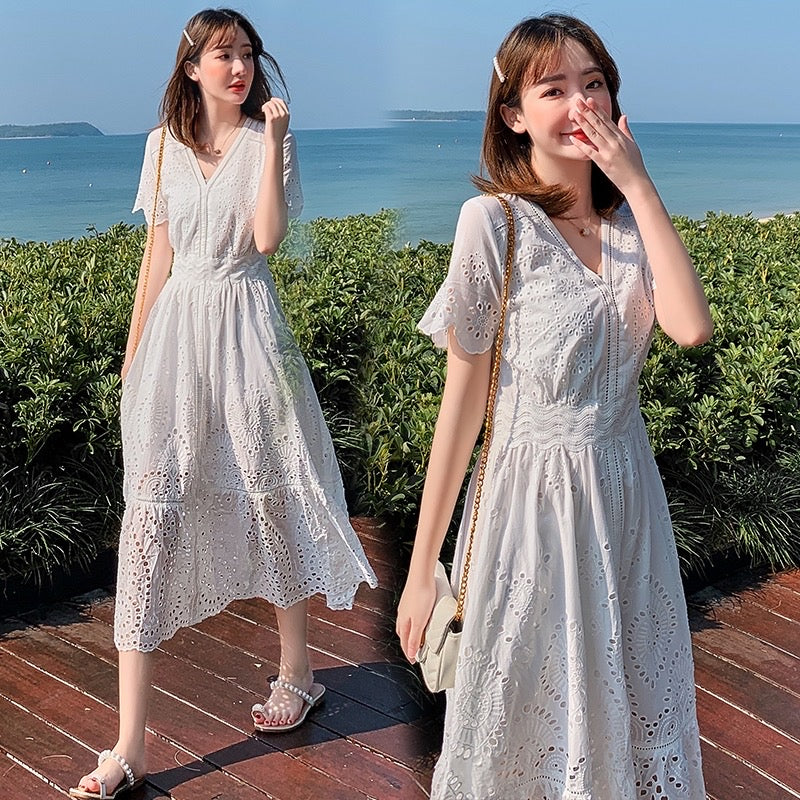 Lillian Eyelet Style V-Neck Long Dress