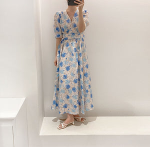 Open image in slideshow, Skylar Wrap Around Floral Long Dress