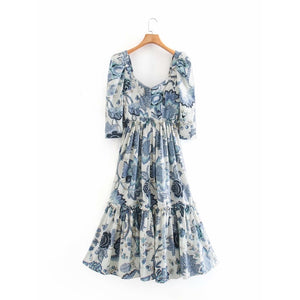 Caroline Printed Mid Length Dress
