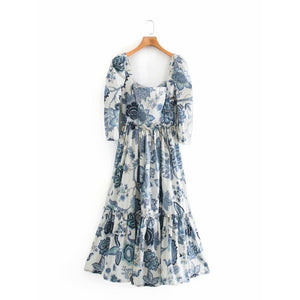 Open image in slideshow, Caroline Printed Mid Length Dress