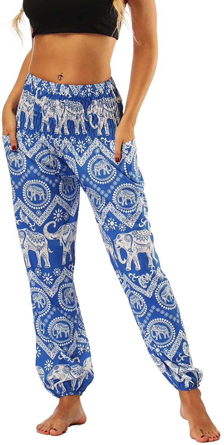 Women's Boho Pants Harem Smocked Waist Yoga Hippie Palazzo Summer Beach Pants WITH POCKETS!!! - United Festival Outfitters