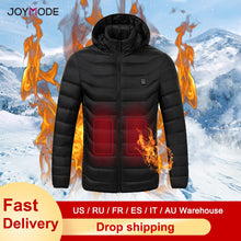 Load image into Gallery viewer, JOYMODE Men Women Heated Jackets Vest Down Cotton Outdoor Coat USB Electric Heating Hooded Winter Thermal Warmer Jackets