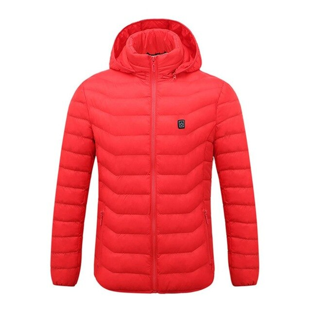 JOYMODE Men Women Heated Jackets Vest Down Cotton Outdoor Coat USB Electric Heating Hooded Winter Thermal Warmer Jackets