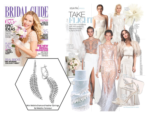 Bridal Guide Magazine 2016 - Madyha Farooqui Jewelry Mobile Diamond Feather Earrings