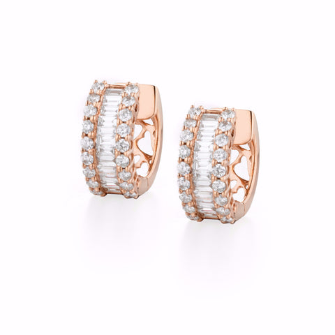 City Diamond Baguette Hoops | more gold options