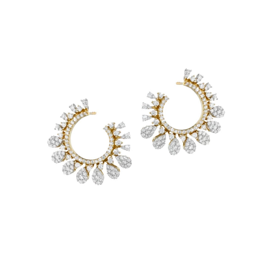 Diamond Starburst Front Facing Hoops | more gold options
