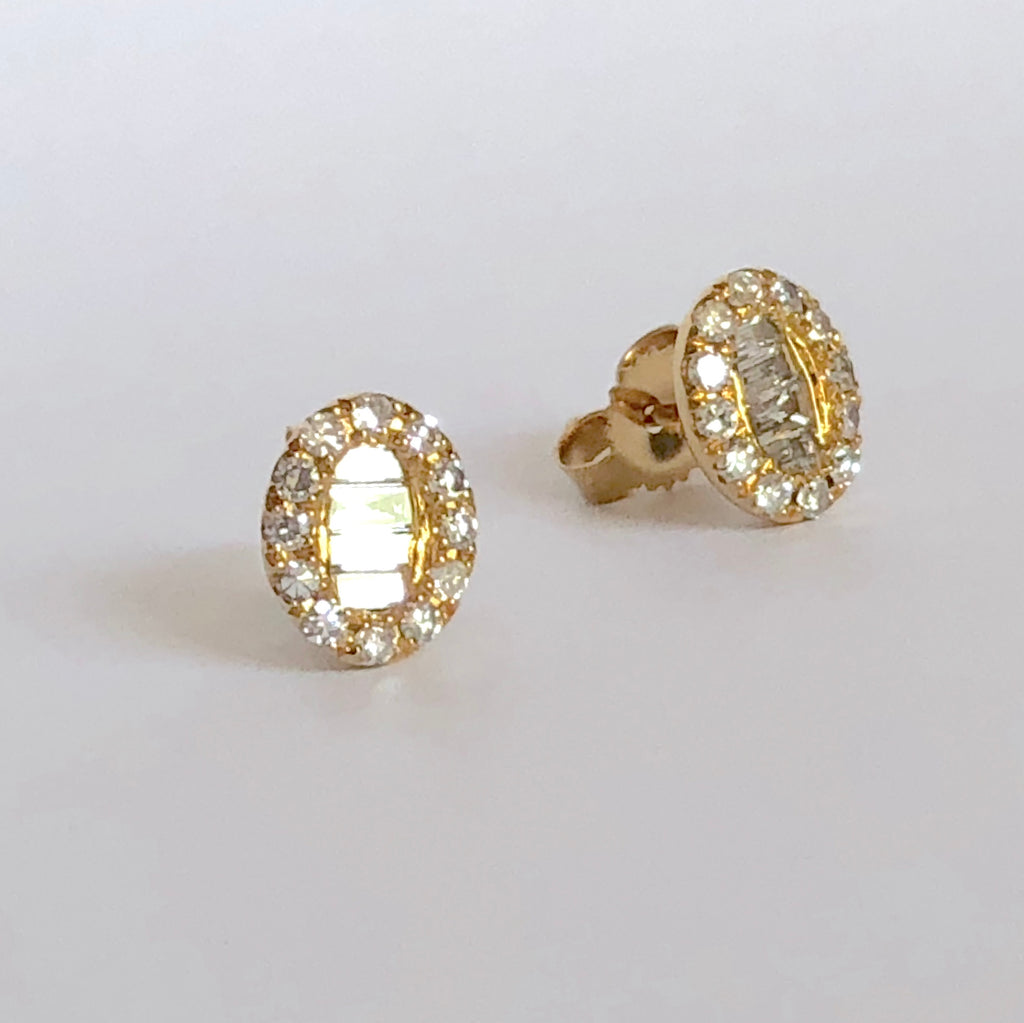 Oval Diamond Earrings with baguettes - Madyha Farooqui Jewelry