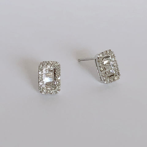 Rectangle Diamond Baguette Earrings | more gold options