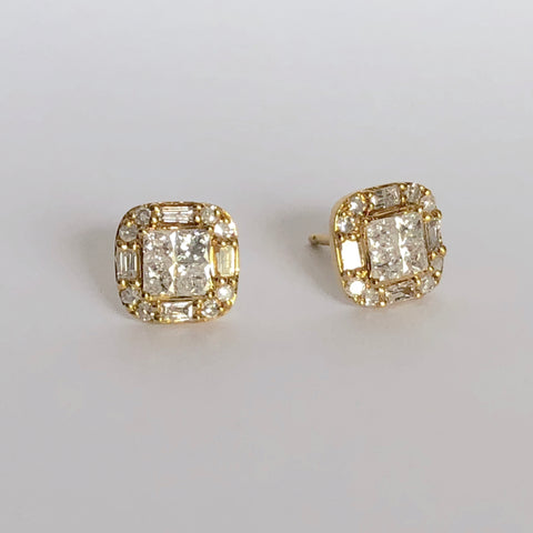 Tile Diamond Earrings | more gold options