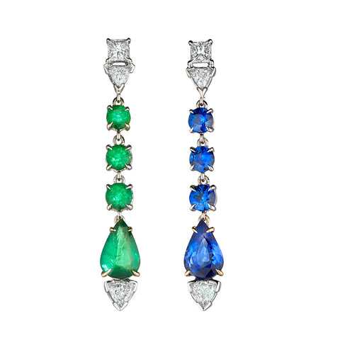 Emerald & Sapphire Pendant Earrings