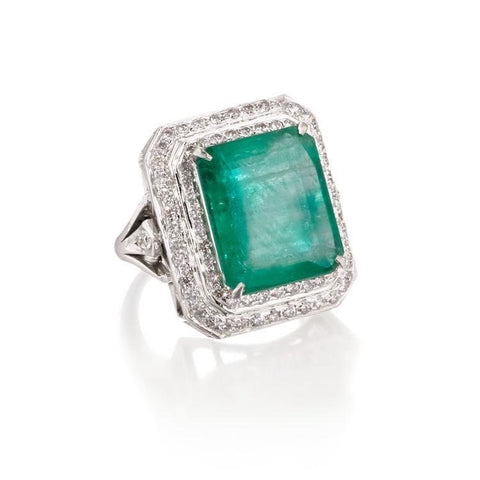 Maharani Art Deco | Emerald & Diamond Ring