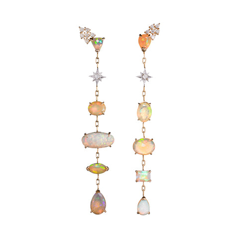 Opal & Diamond Starlight | Shoulder Duster Earrings