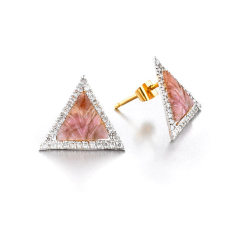 Tourmaline Triangle Diamond Earrings