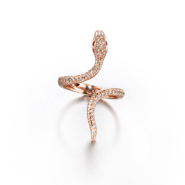 Eden Serpent Ring Rose Gold Madyha Farooqui Jewelry