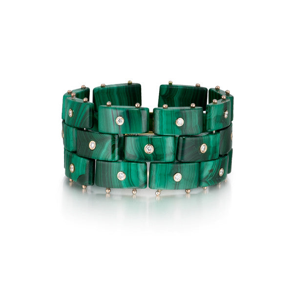 Diamond District Cuff Bracelet | Malachite