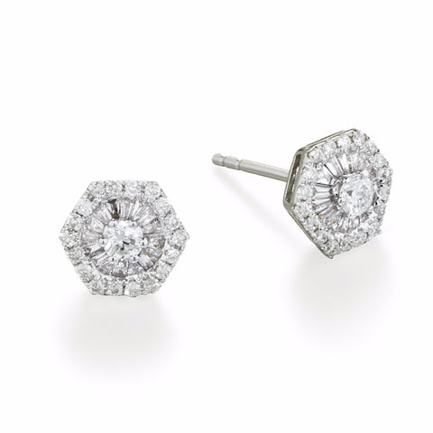 Hexagon Diamond Baguette Earrings | more gold options