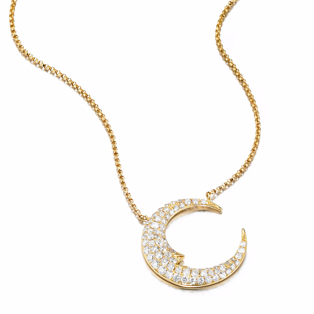 Crescent Moon Diamond Necklace | more gold options