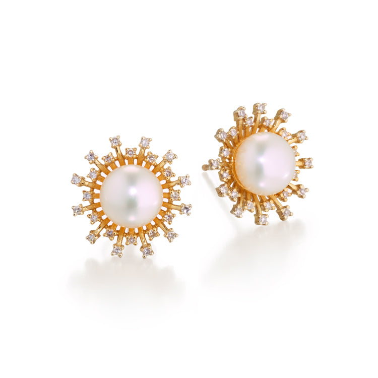 Pearl & Diamond Sunburst Earrings