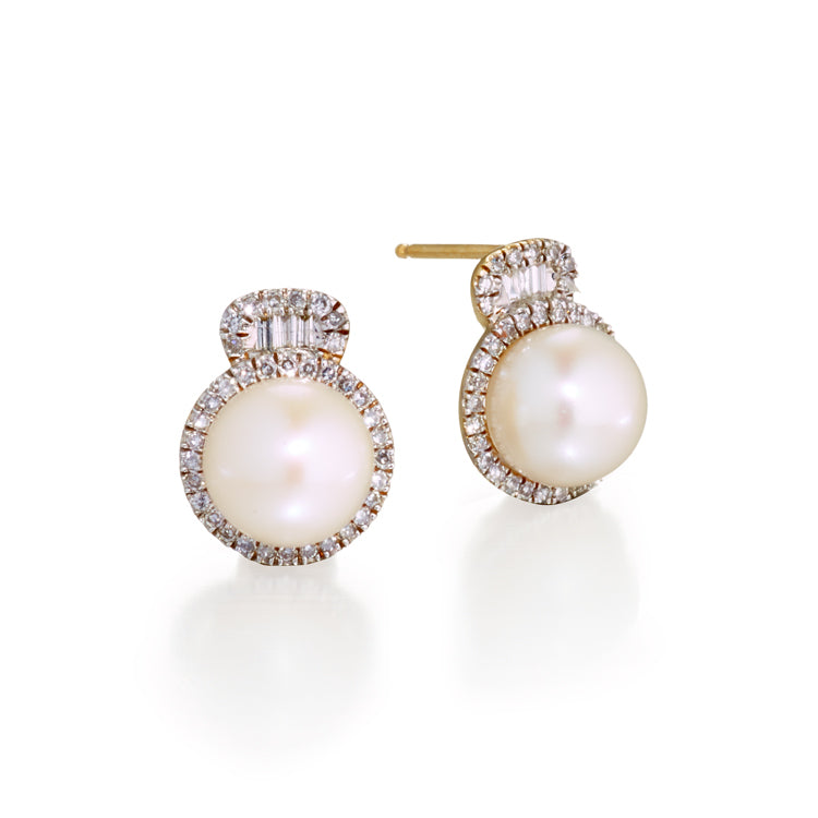Pearl & Diamond Baguette Earrings