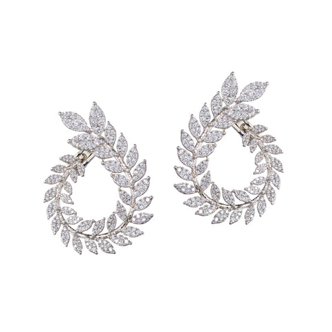 Olive Wreath Diamond Front Facing Hoops | more gold options