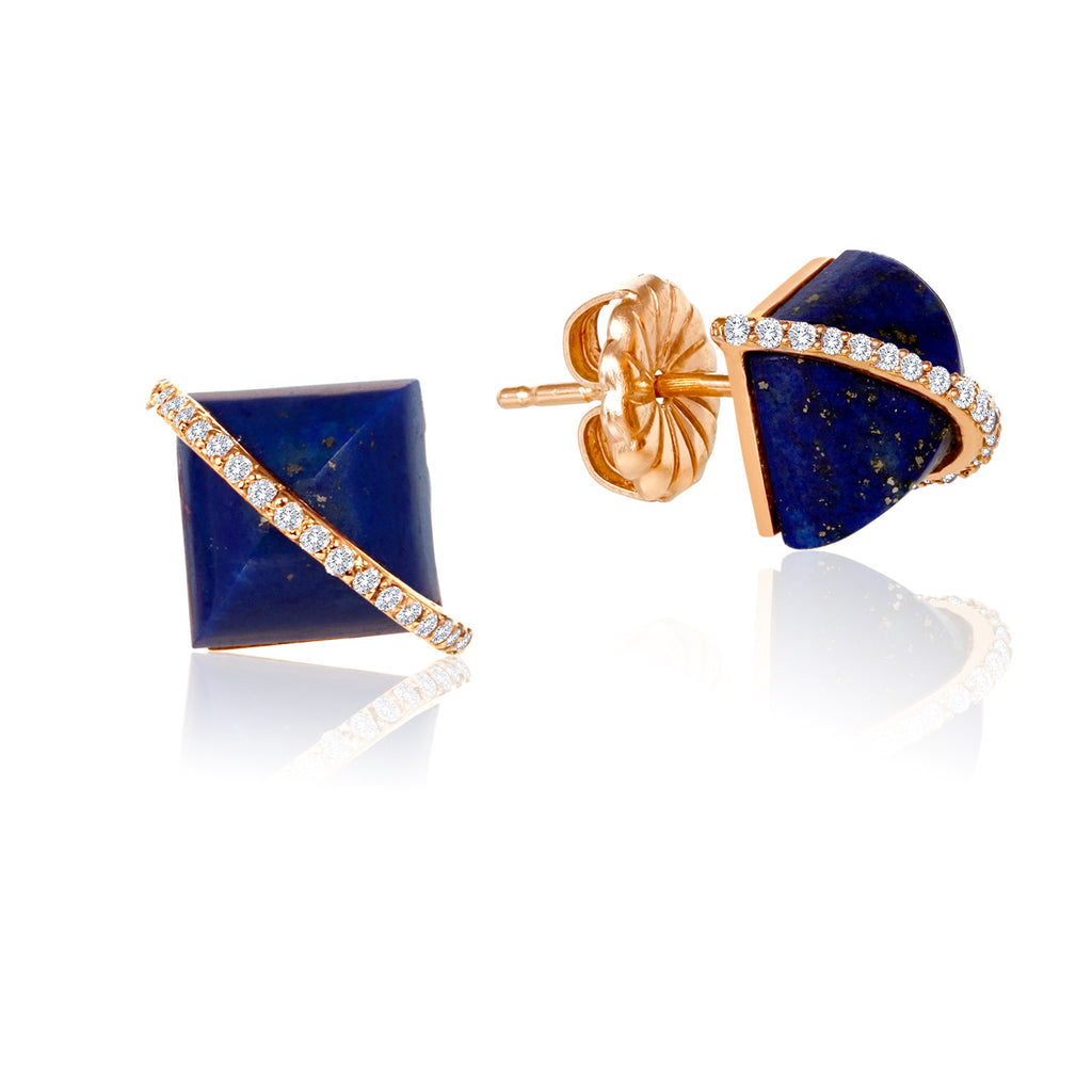 Madyha Farooqui District Diamond Micropave Pyramid Earrings Lapis Lazuli