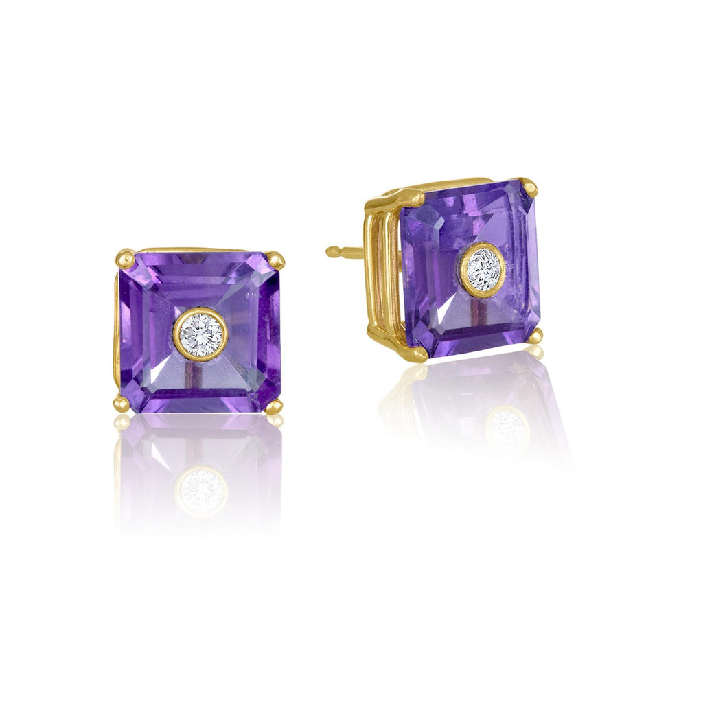 NoLita Cocktail Earrings 10mm | Amethyst & Diamond