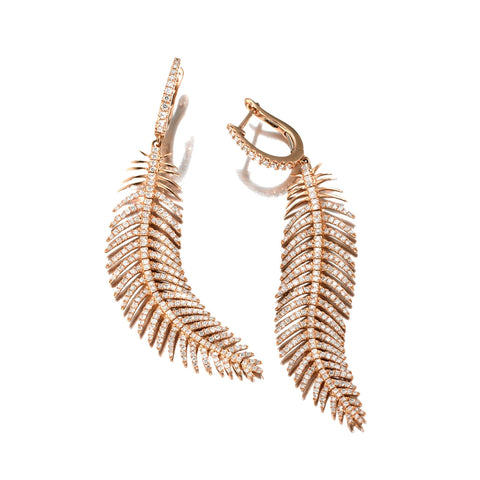 Mobile Feather Diamond Earrings | Medium