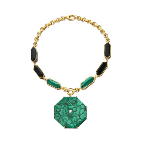 Geo Nova - Malachite, Onyx, Diamond Necklace