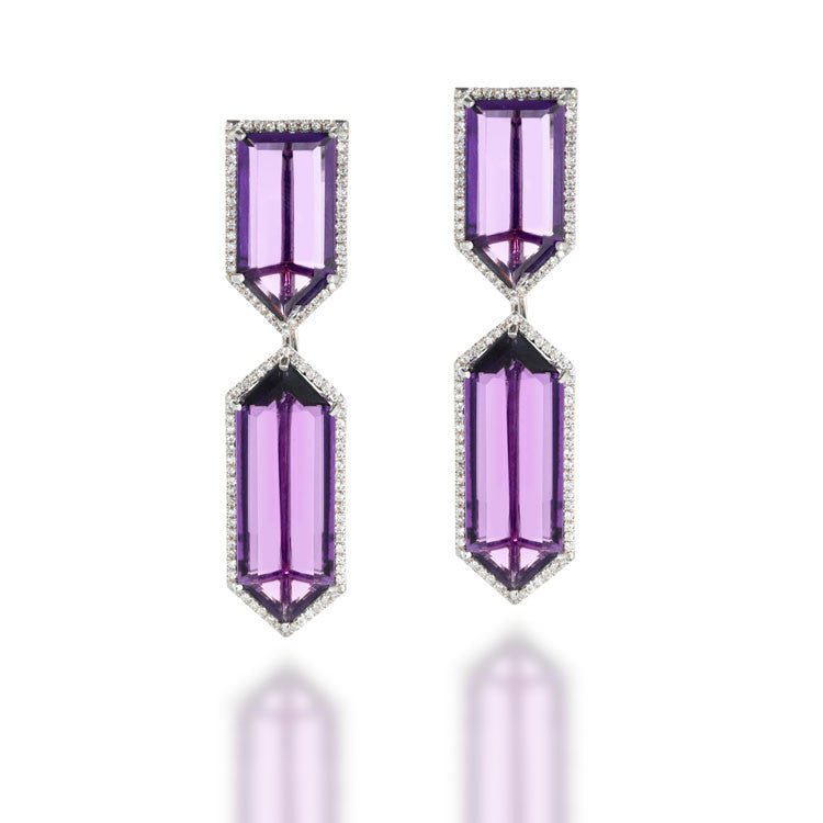 GeoNova Pendant Earrings, Amethyst