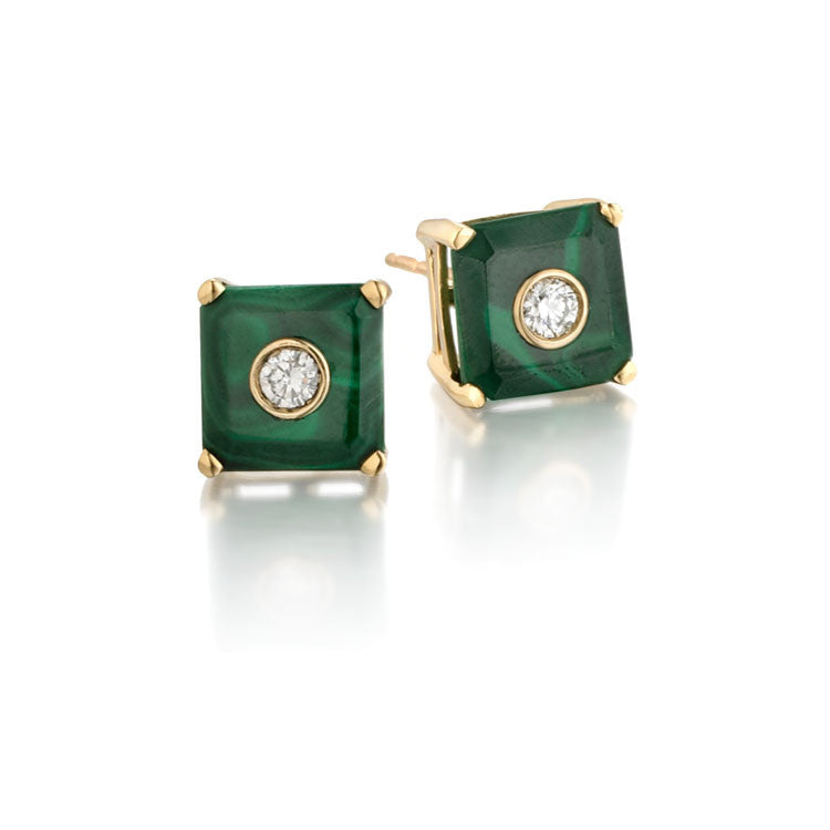 NoLita Cocktail Earrings 8mm | Malachite