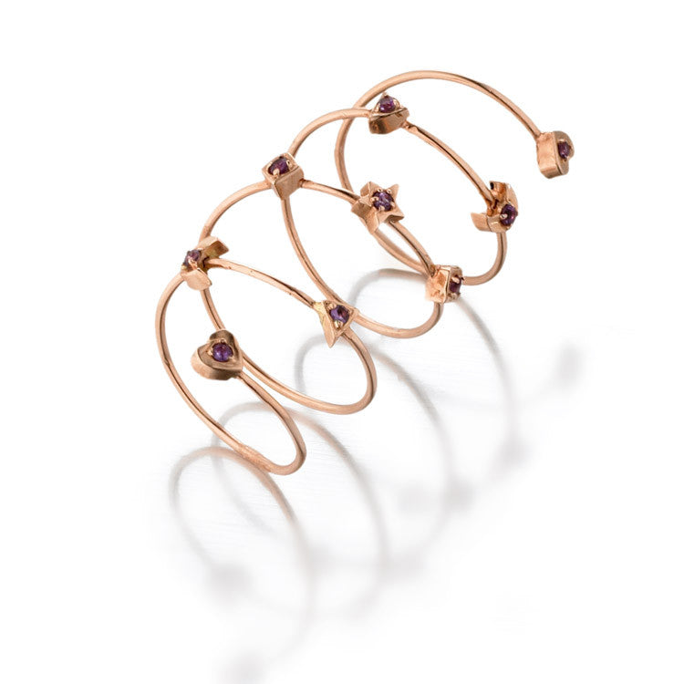 Love, Moon & Stars Spiral Ring | Rose Gold